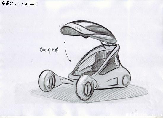 另一款新能源概念车的草图,命名还不得而知,从现有草图上看,此款概念车有可能具备有轮或无轮的两种形态。知情人士透露,这更多的是一款基于云技术的智能化的新能源车,通过云技术实现信息共享,力求达到无限续航增程,是一种全新的能源与移动解决方案。对于此款概念车我们希望在北京车展中能够有更加深入的了解。